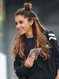 EXCLUSIVE: Ariana Grande leaves a recording studio holding a CD in Hollywood, California. Ariana looked delighted as she left the studio with close friend and choreographer Isaac Calpito and her mother, Joan Grande. Ariana was dressed casually in leggings and a sweater but carried a chic Chanel purse. She wore her hair in her usual half up, half down style. Pictured: Ariana Grande and Joan Grande Ref: SPL689123 280114 EXCLUSIVE Picture by: Splash News Splash News and Pictures Los Angeles: 310-821-2666 New York: 212-619-2666 London: 870-934-2666 photodesk@splashnews.com